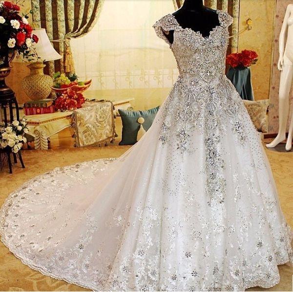 Discount Luxury Super Shiny Tailing Wedding Dresses V Neck Crystal Beads  Lace Appliques Cap Sleeve Bridal Wedding Gowns Vestido De Novia Plus Size  ...