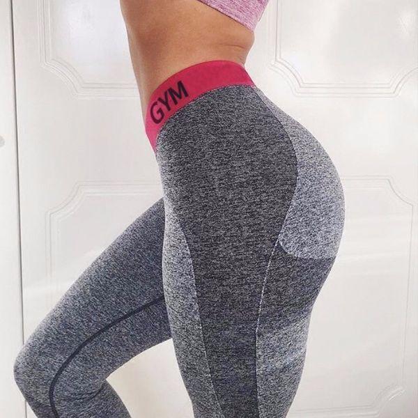 Frauen Patchwork dünne Gamaschen Fitness-hohe Taillen-elastische Gamaschen Brief drucken Workout Quick Dry Hosen Push Up Kolben-Aufzug Leggins