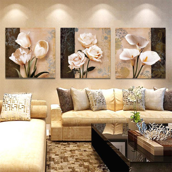 Wall Art Home Decor Framework Canvas Pictures 3 Pieces Abstract Tulip Flowers Paintings For Living Room HD Prints Posters