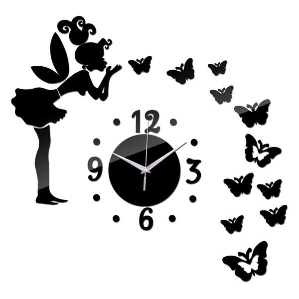 2016 new limited time-limited 3d clocks Quartz Acrylic wall clock mirror fairy sticker kids decor watch free Needle shipping