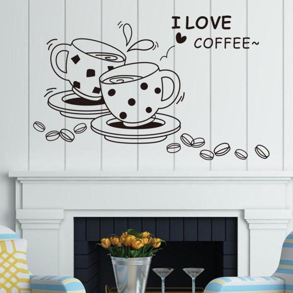 Großhandel Dekoration Aufkleber Poster Aufkleber Ich Liebe Kaffee Küche  Aufkleber Wandtattoo Kaffeetasse Restaurant Home Decor Poster Von ...