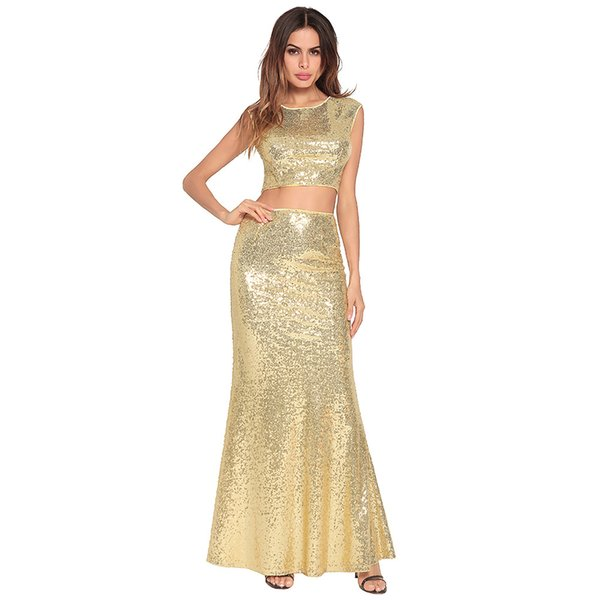 Cheap Sequined 2 Piece Prom Dress 2018 Crew Sleeveless Backless Mermaid Long African Formal Evening Dresses Party Casual Gown Beachwear