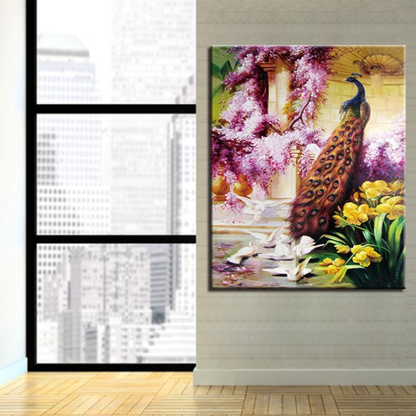 DIY Oil Painting By Numbers Kits Handpainted Flowers Peacock Pictures Abstract Drawing Animal Coloring On Canvas Wall Art Decor
