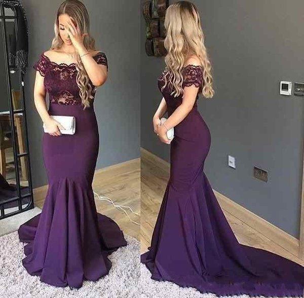 Modest Grape Mermaid Evening Gowns 2018 Off Shoulder Lace Top Short Sleeve Long Arabic Modest Prom Party Vestidos de Festa Dresses Cheap