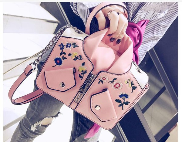 Nation Women PU Shoulder Floral Bags Chain Clothes Fashion Lady Handbags ARTWORK JACKET Totes For Female Embroidery Bags High Quality