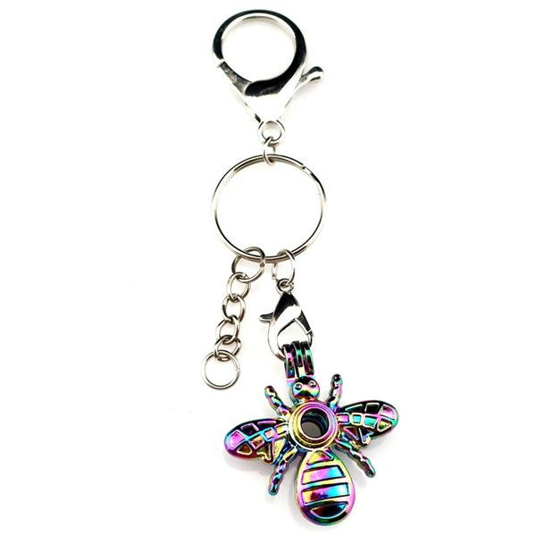 Key Chains Keychain Silver Plated Key Ring Clasp With Bee Beads Cage Locket Y547 Fun Gift