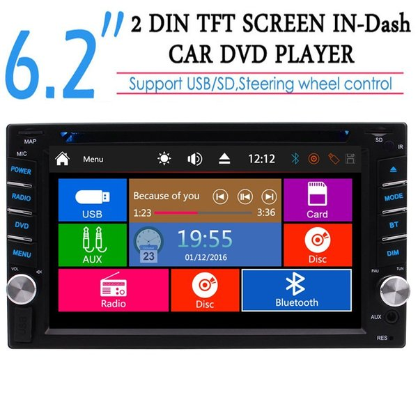 Car Autoradio 2din Radio Receiver Headunit Double Din Car Stereo GPS car DVD Player 6.2'' Dash support USB/SD/Cam-in/Bluetooth Steering