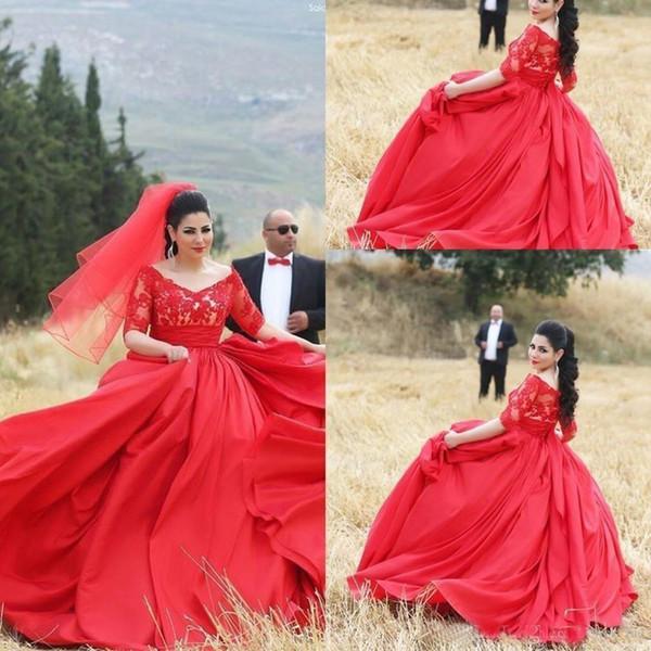 Red Wedding Dress 2018 Plus Size Satin Ball Gown V-Neck Lace Applique Half Sleeves Vestidos De Novia Bridal Gown