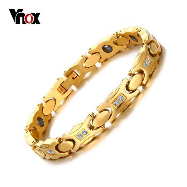 Vnox Love Wrap Bracelet femme Jewelry Magnete color oro a mano catena lunghezza regolabile