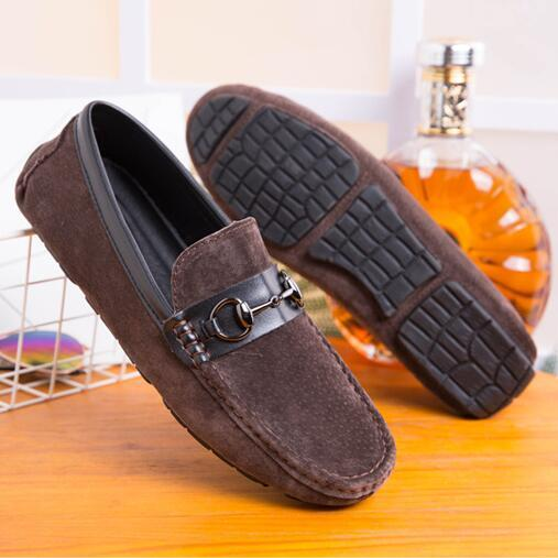 2018 New Style Brand Fashion Soft Split Leather Breathable Men's Shoes Slip-on Mocassins Men Loafers Anti-skid Driving Casual Shoes Men G346