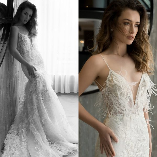 2018 Wedding Dress Best Selling Spaghetti Mermaid Sexy Lace Applique Bridal Gowns Feathers Backless Sweep Train Custom Made Wedding Dresses