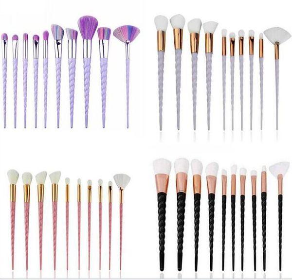 10pcs unicorno spirale trucco pennello fan arcobaleno pennelli professionali 4 colori fondazione polvere ombretto colorato pennello goccia di spedizione