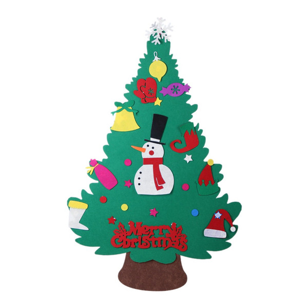 Snowman Christmas Gifts for 2018 Kids DIY Felt Christmas Tree with Ornaments New Year Decoration Door Wall Hanging Decoration