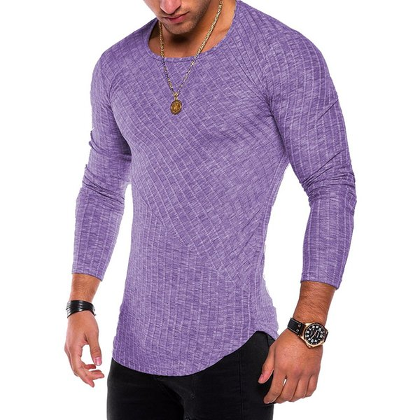 2018 Sexy Gray O-Neck Long Sleeved Running Shirts Men Fitness Tops Male Bodybuilding Sport Soccer Slim Shirts Workout Tank Tops