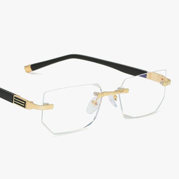 2019 Anti-blue light Reading Eyeglasses Presbyopic Spectacles Glass Lens Unisex Rimless Glasses Frame of Glasses Strength +1.0 ~ +4.0