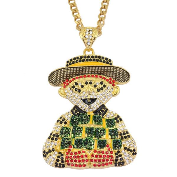 Fashion Iced Out Cartoon Clown Pendant Necklace Mens Hip Hop Necklace Jewelry 76cm Gold Cuban Chain For Men