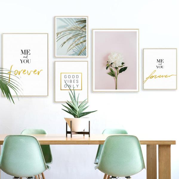 Acheter Nordique Décoratif Fleur De Palm Personnalité Anglais Peinture Sur Toile Affiche Et Imprimer Art Photo Mur Salon Décor à La Maison Murale De