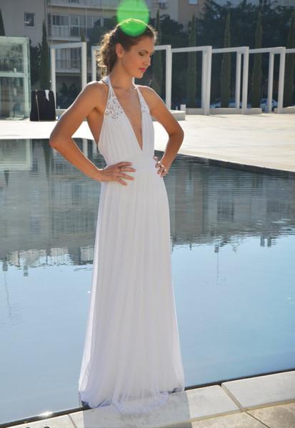 Elegant Casual Beach Wedding Dresses Deep V Neck Halter Neck Lace Chiffon Floor Length Long Backless 2019 Modern Bridal Gowns Custom Size