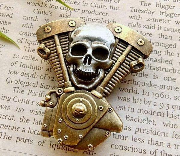Роскошный юбилей мотоцикл клуб значок классический череп двигатель байкер броши для куртки шляпа ретро металлический воротник контактный брошь медаль