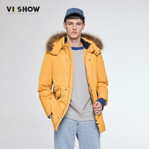 VIISHOW 2017 Winter New Jacket Men Warm Coat Fashion Casual Yellow Parka Medium-Long Thickening Coat Men For Winter MC1676174