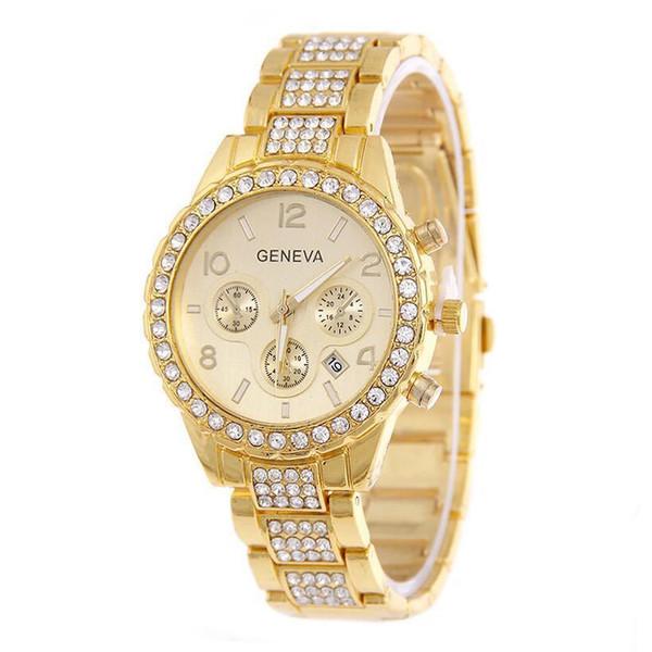 Lujo caliente unisex para hombre mujeres ginebra fecha de diamante calendario de aleación de metal reloj señoras de la moda vestido casual relojes de cuarzo