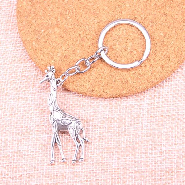 Moda 28mm portachiavi in metallo portachiavi catena portachiavi gioielli in argento antico placcato giraffa cervo 53 * 23mm ciondolo