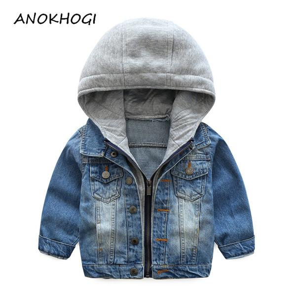 Autunno Con Cappuccio Bambini Ragazzi Giacche di jeans Solid Patchwork Zipper Cool Cowboy Capispalla per bambini 3-10 T Baby Boy Abbigliamento C18