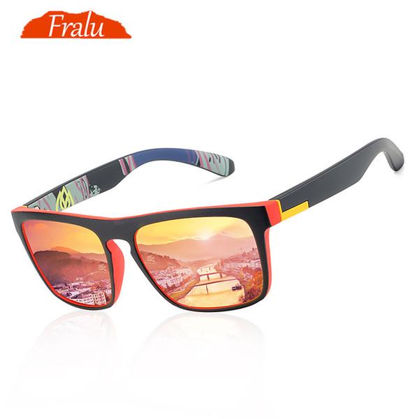 Gafas de sol New Fashion Guy's de FRALU Gafas de sol polarizadas Hombres Diseño clásico Todo en forma de gafas de sol con espejo Marca con caja CE