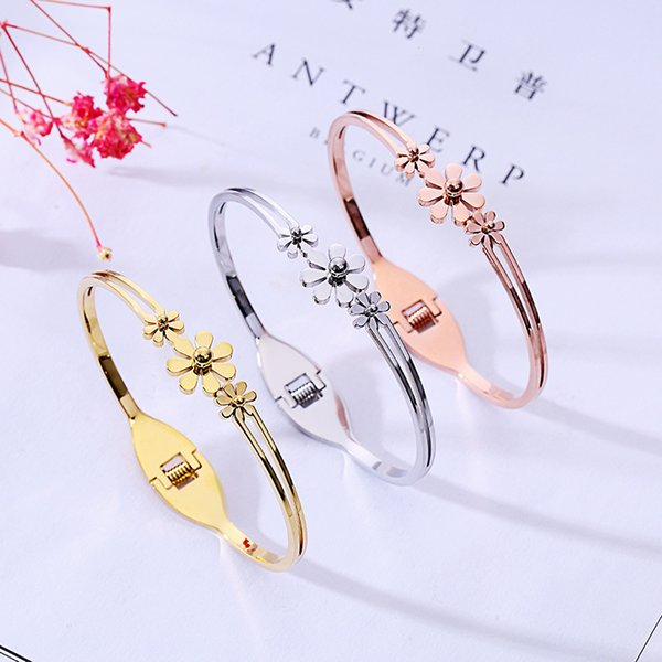 Fashion Women Plain Flower Bracelet 3 Colors 18K Rose Gold Bangle For Daily Wearing Best Gifts For Party, Anniversary