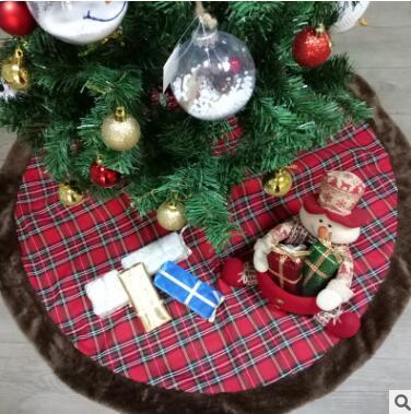 42 pulgadas de tela escocesa falda del árbol de Navidad de piel sintética falda de tela escocesa doble capas falda de árbol de navidad Navidad de lujo decoraciones navideñas Favores para mascotas