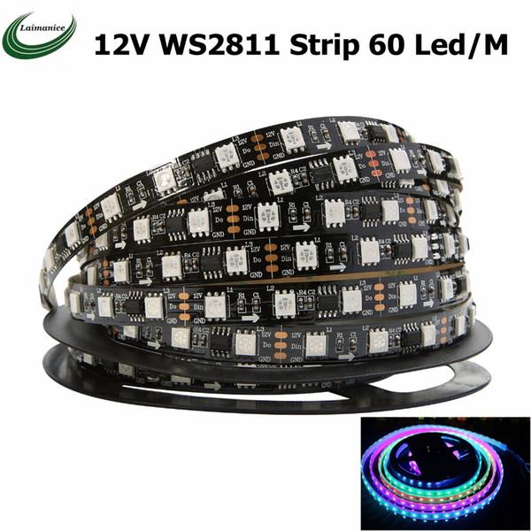 WS2811 led strip 5m 60leds/m,20pcs ws2811 ic/meter,DC12V White/Black PCB, 2811 Addressable Digital RGB full color tape light