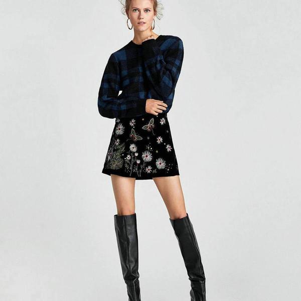 5132933e485 2018 Autumn New Velvet Women Special Floral Girl Embroidered Skirt Wild  Casual Short Mini Fashion Skirt Women Female Clothing From Bigirl, $34.16 |  ...