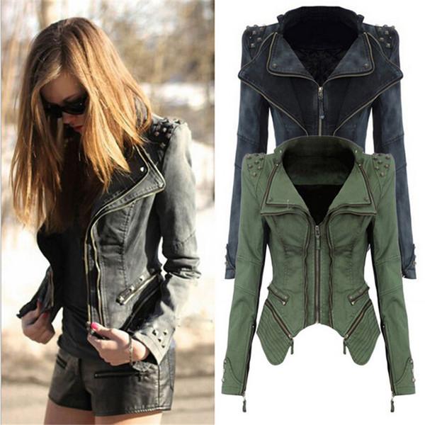 Unique Punk Design Women Motorcycle Short Jean Jacket Outerwear Female Fashion Rivet Dovetail Type Slim Denim Jackets Plus Size 6XL