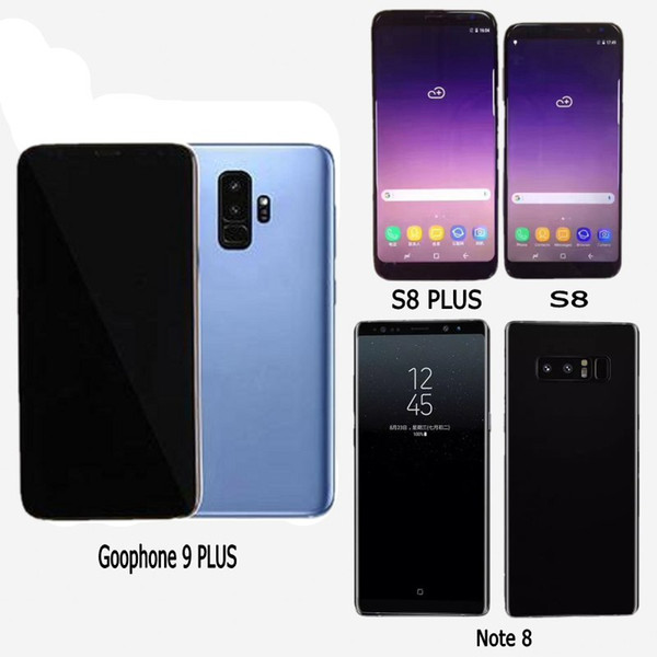 Goophone 9 plus Note 8 Cell Phones unlocked phone quad core 1GB ram 16GB rom 6.4inch full Screen Show 64GB fake 4g lte Android Smartphone