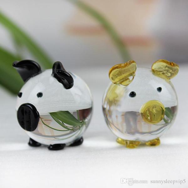 K9 Cristal Cerdo Figuras Miniaturas de Cristal Animal Casa Miniatura Decoración Fengshui Artesanía Adornos Lindos