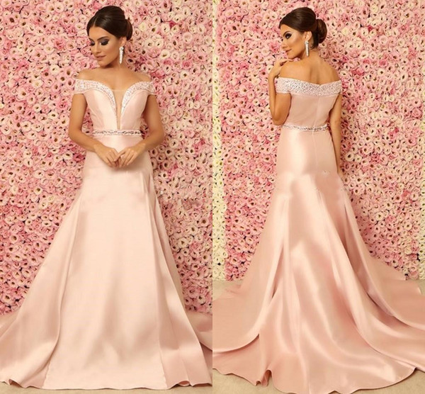 Elegant Mermaid Evening Dresses 2018 Off The Shoulder Crystal Beaded Satin blush peach Long Formal Prom Dresses Sweep Train