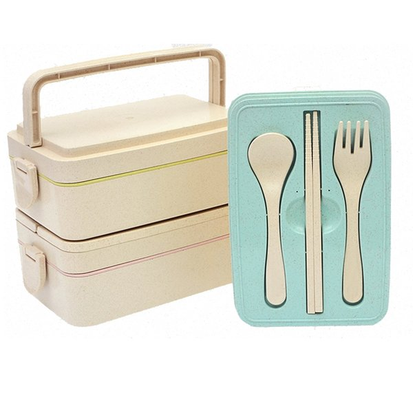 2-layer wheat straw box leakproof lunch storage box for adults and children lunch box - microwave / dishwasher / refrigerator safe mx5062
