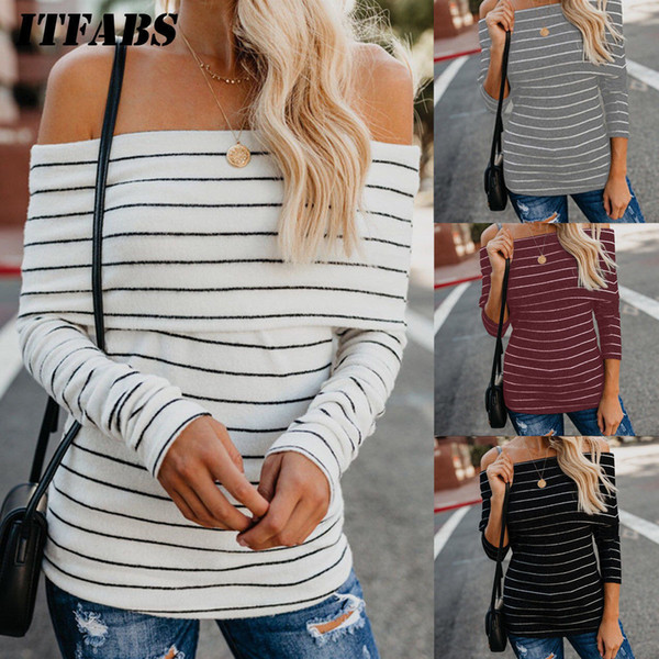 Autumn New Women Ladies Off Shoulder T-Shirt Striped Tops Jumper Casual Long Sleeve Pullover Sexy Bodycon Tees Fashion