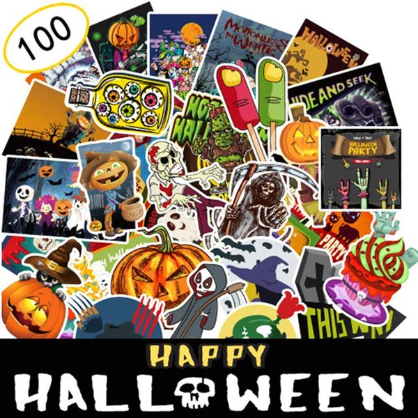 100Pcs-Pack Vinyl Holiday Halloween Stickers for Personalize Laptop Car Helmet Skateboard Luggage Make Up Halloween Decal Decoration