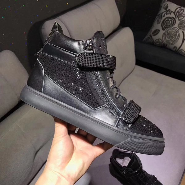 fashion high top brand new style men women high top rhinestone model black color shoes original quality black chain crystal shoes size 35-46