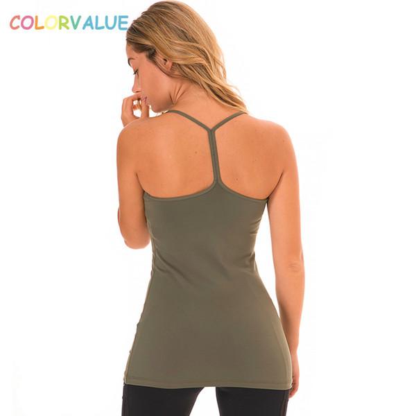 Colorvalue Soft Nylon Y-Type Yoga Weste Damen Gepolsterte Dance Workout Tank Tops Fitness Jogger Ärmellose Shirts mit abnehmbaren Pads