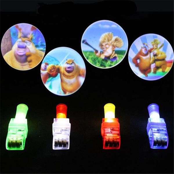 1Pcs Projection Finger Light LED Lamp Strange New Light-emitting Electronic Toys Gifts Luminous Hand Ring 4 Colors Random Shiping