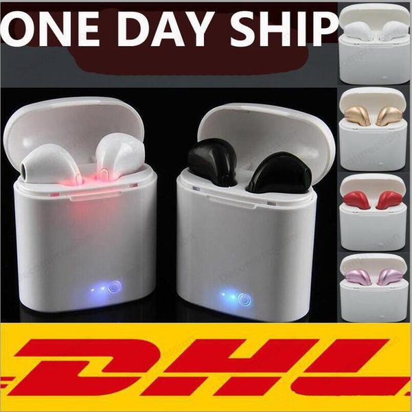 I7S TWS Twins Bluetooth Headphones with Charger Box Wireless Earbuds Headset for IOS Iphone X Android with Retail Package