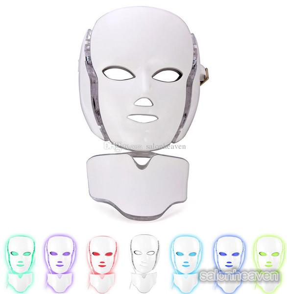 PDT LED Işık Terapi Makine 7 Renk Yüz ve Boyun Maskesi Yüz Gençleştirme Akne Kırışıklık Kaldırma Led Yüz Maskesi Microcurrent Ile Kaldırmak