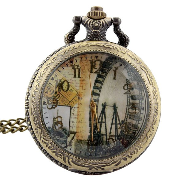 TIEDAN Fashion New Arrival Hollow Meter Cover London Ferris Wheel Design Anitique Necklace Pocket Watch for Unisex Retro Watches