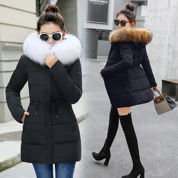 2019 new Big fur winter coat jacket women thickened parka women slim long winter coat down cotton ladies down parka down jacket women