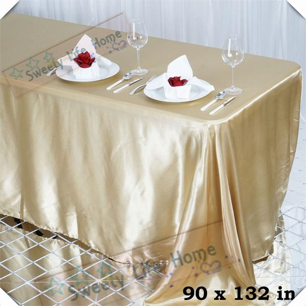 Free shipping 10pcs 90inch*132inch Rectangle satin table cloths Champange color table spread sheet for banquet hotel party event decoration
