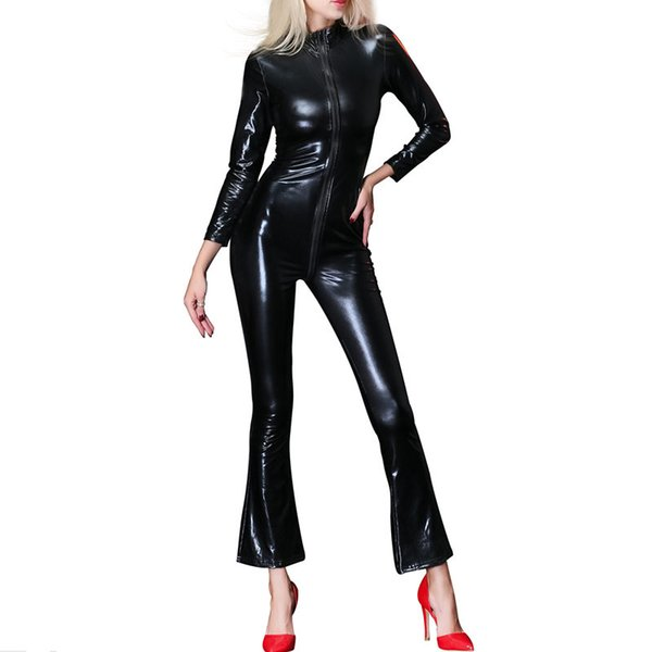 Sexy Womens Faux Leather Zipper Bodysuit Catsuit Fetish Female Long Sleeve Slim Tight Jumpsuit Wet-look Nightclub Costume New