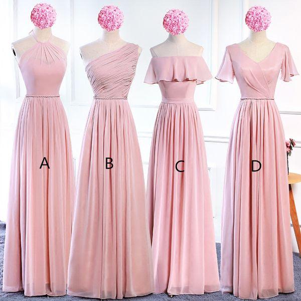 best selling Blush Pink Chiffon Long Bridesmaid Dresses Lace Up 2020 Bohemian Bridesmaid Dress Floor Length Wedding Guest Dresses