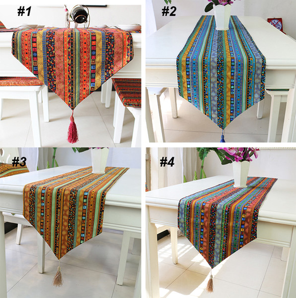 best selling Ethnic Style Table Cloth Coustomize Size Table Flag Fashion Cotton Linen Coffee Table Runner BH18017